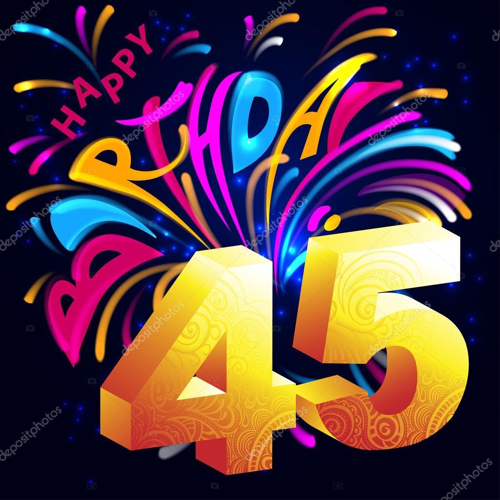 grattis på 45 årsdagen Fireworks Grattis på födelsedagen med en guld nummer 45 — Stock  grattis på 45 årsdagen