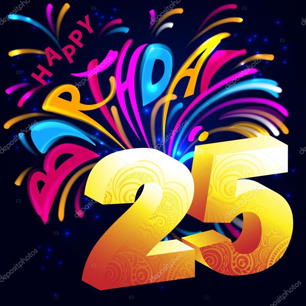 Feliz Cumpleanos Numero 25 Feliz Cumpleanos Fuegos Artificiales