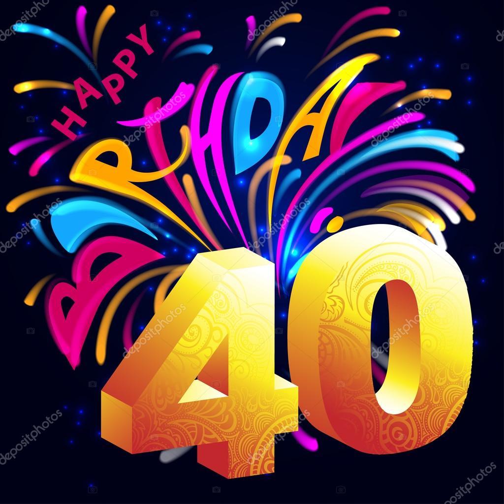 Imagenes De Cumpleanos Numero 40.Feliz Cumpleanos Fuegos Artificiales Con Un Oro Numero 40