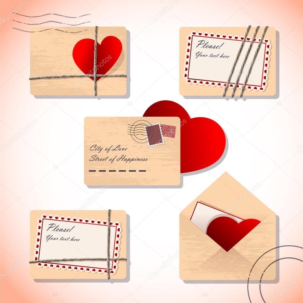Cartas De Amor En Sobres Archivo Imágenes Vectoriales