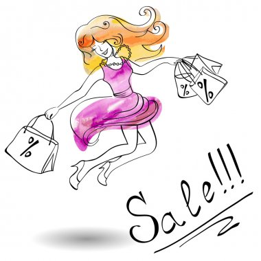 Joyful girl in a dress jumps shopping