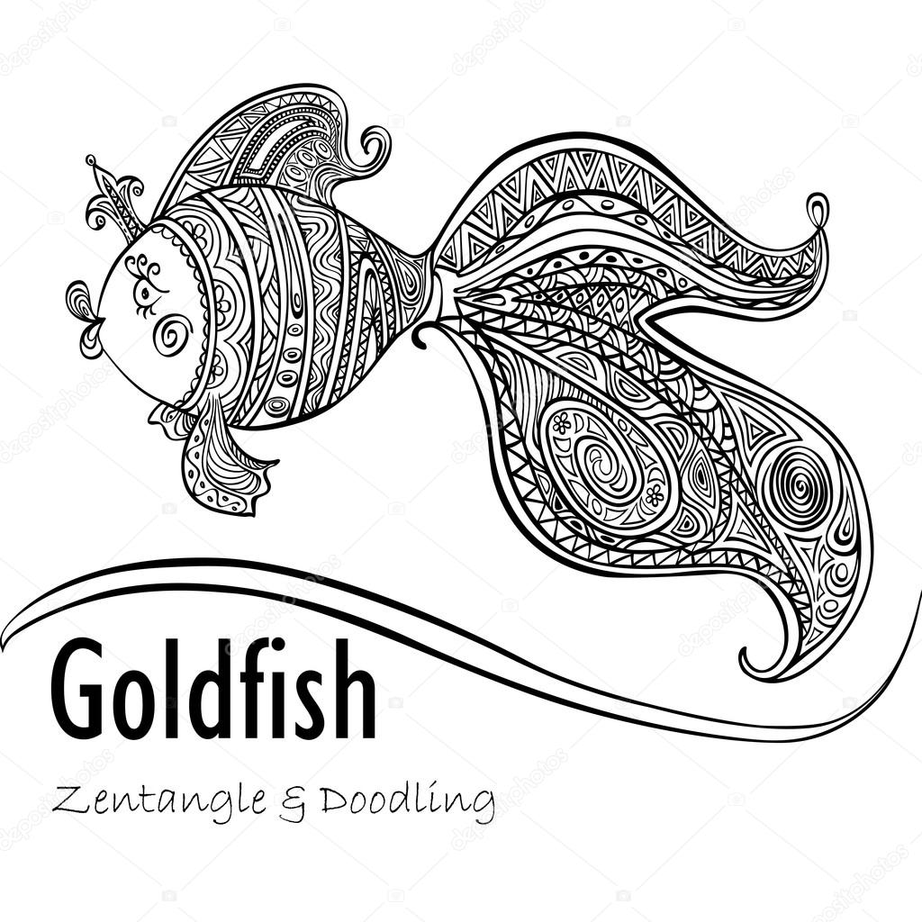 Goldfish and patterned tail in black and white