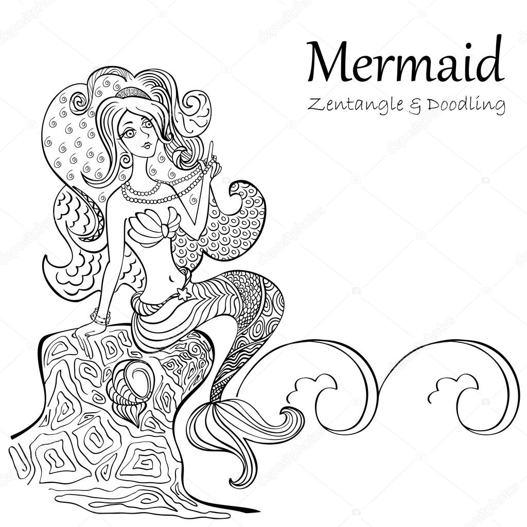 Mermaid black and white patterns