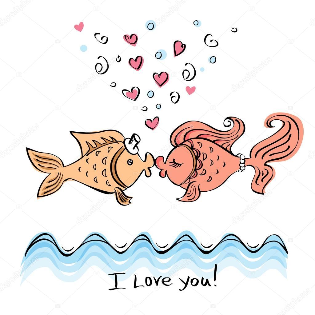 Beso de dos peces dibujo — Vector de stock © katerinasaff #97221748