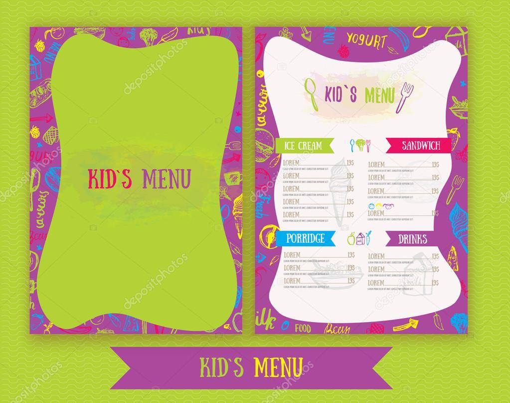 Menú de niños lindo colorido mano dibujado plantilla de vector ...