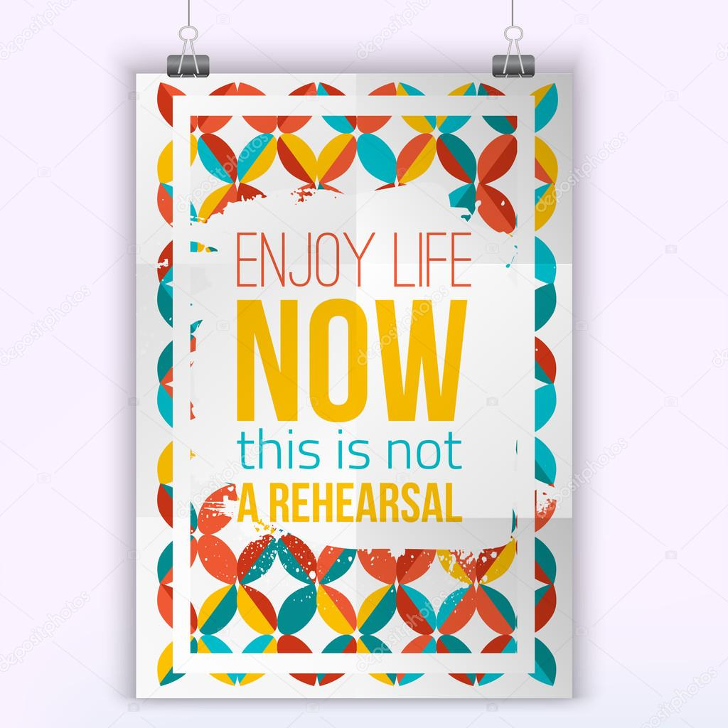 Life Quote Posters Vector Enjoy Life Inspirational Quote Posterhipster Quote Design