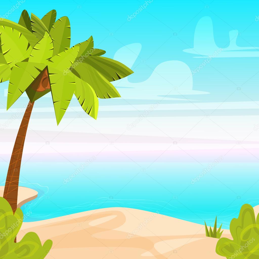 Tropical Beach Island with Palm Tree. Sandy coast near ...
