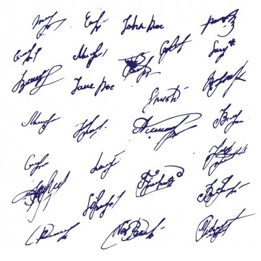 Big Ink Signatures set - group of fictitious contract signatures. Business autograph illustration.