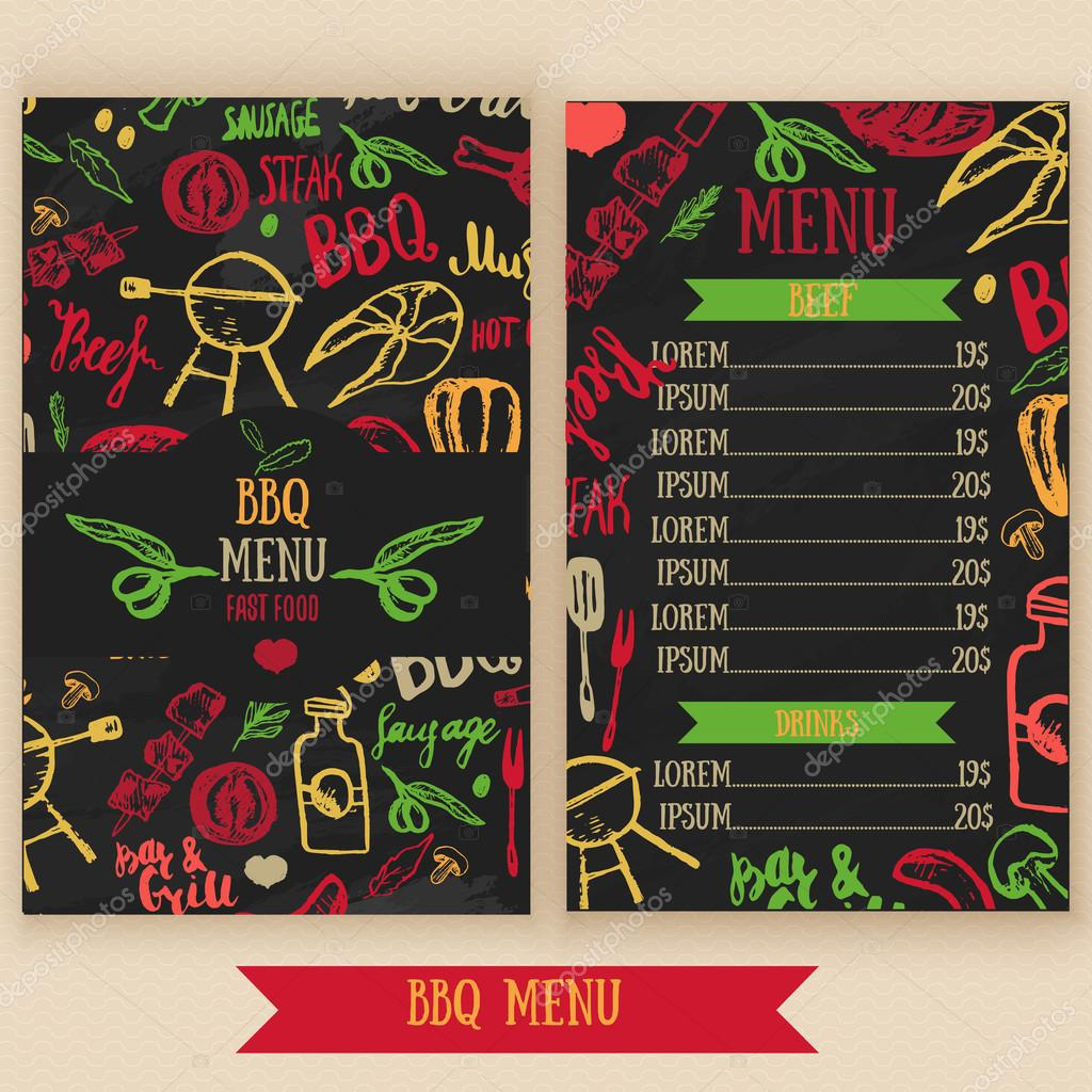 restaurant bbq menu brochure vector cafe template with hand drawn