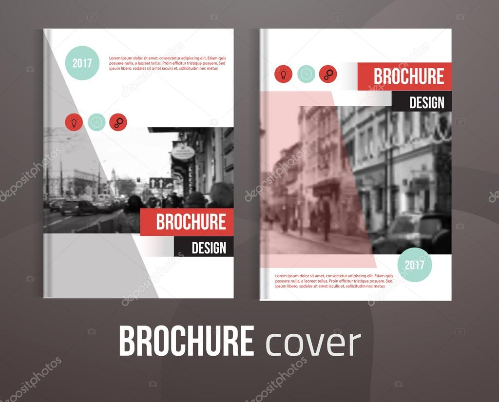 set of vector brochure cover templates with blured city landscape