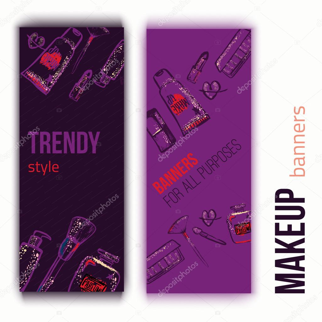 Makeup accessories Hand drawn banners with hand lettering. — Stock Vector