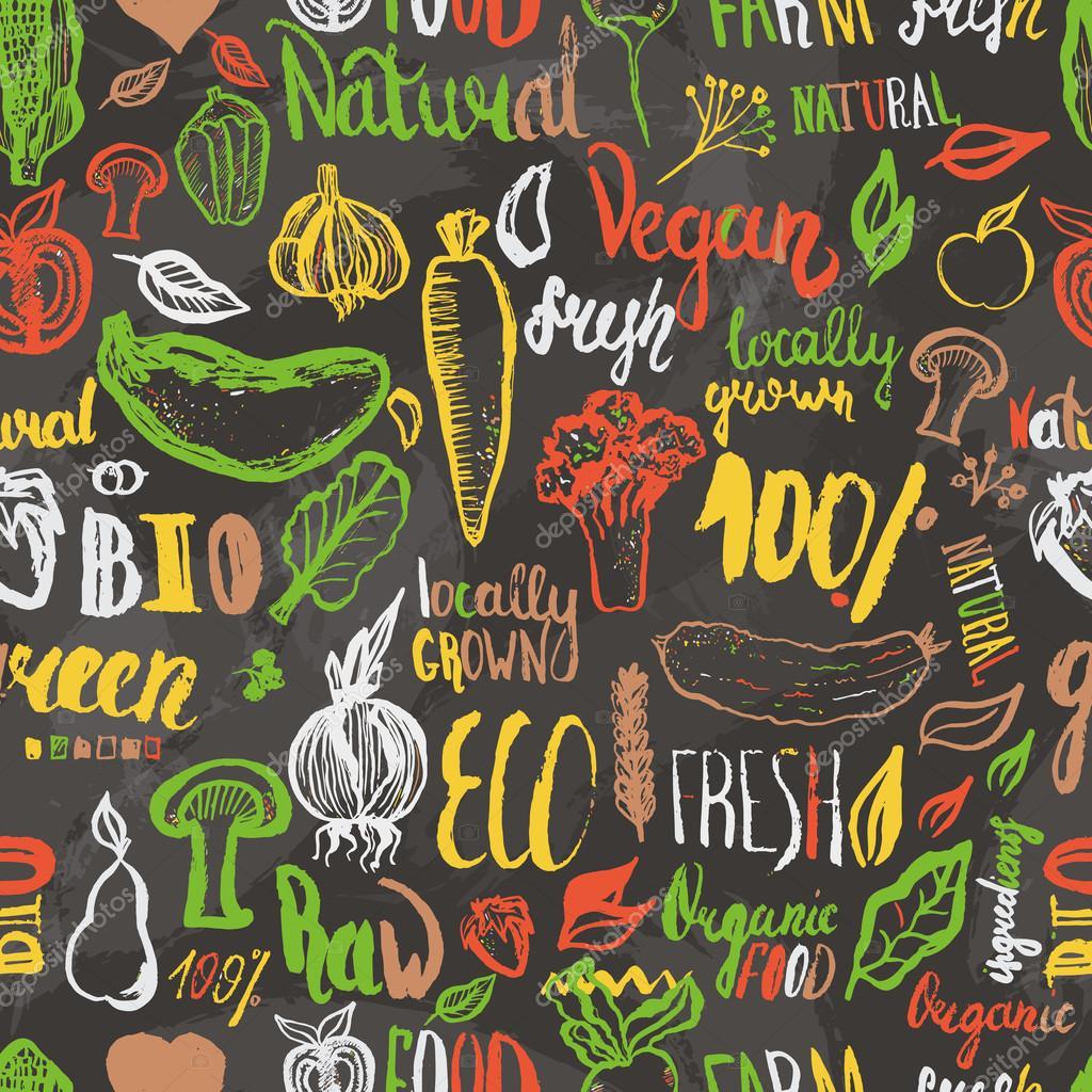 eco food hand drawn seamless pattern vector vegetarian