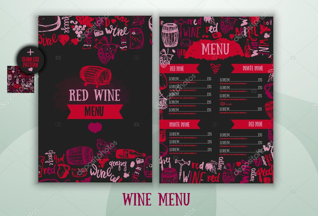 Wine List Template With Hand Drawn Illustration And Lettering Signs