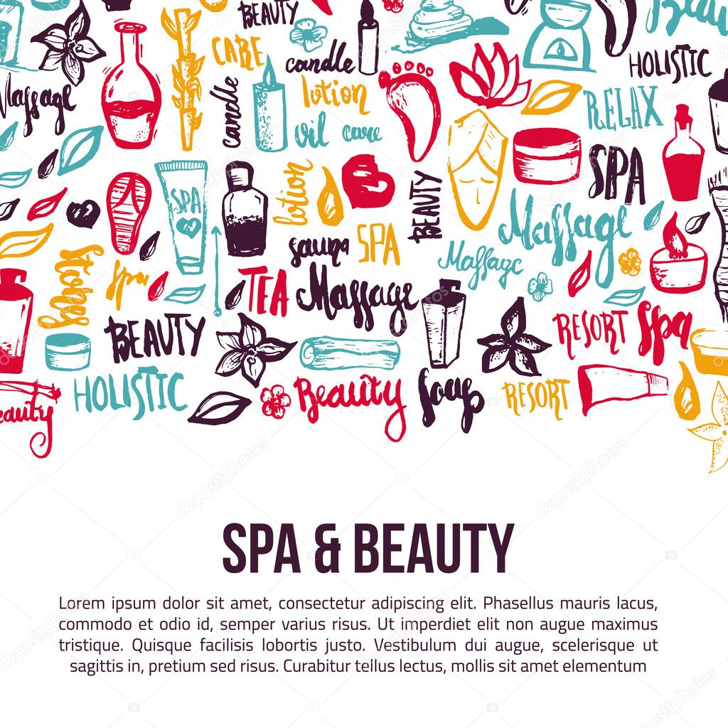 Vector Spa And Care Doodle Design Elements With Hand Drawn Lettering