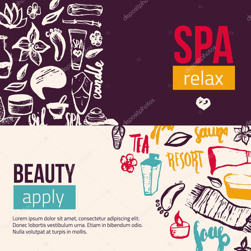 Wellness Spa banner template with hand drawn lettering and doodle elements. Can be used for greeting cards, brochure, patterns.