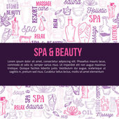 Fotografie Hand drawn doodle body massage and Spa icon set with relaxing symbols, skin care elements, cream Lotion