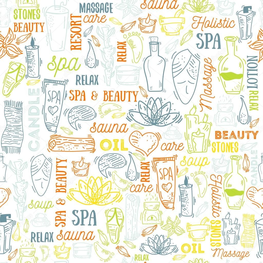 Spa elements seamless background with typography, vector illustration. Natural cosmetics set with bottles, candles, cream, stones