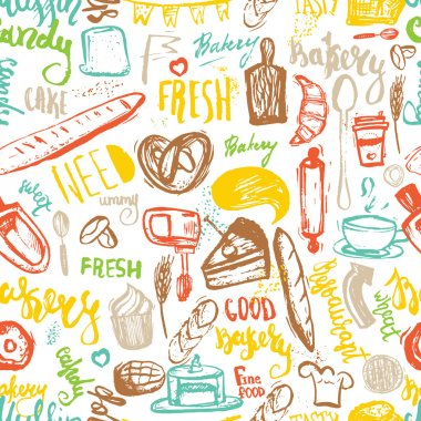 Baking items Seamless pattern with lettering. Hand drawn vector illustration for menus, banners, recipes and packages.