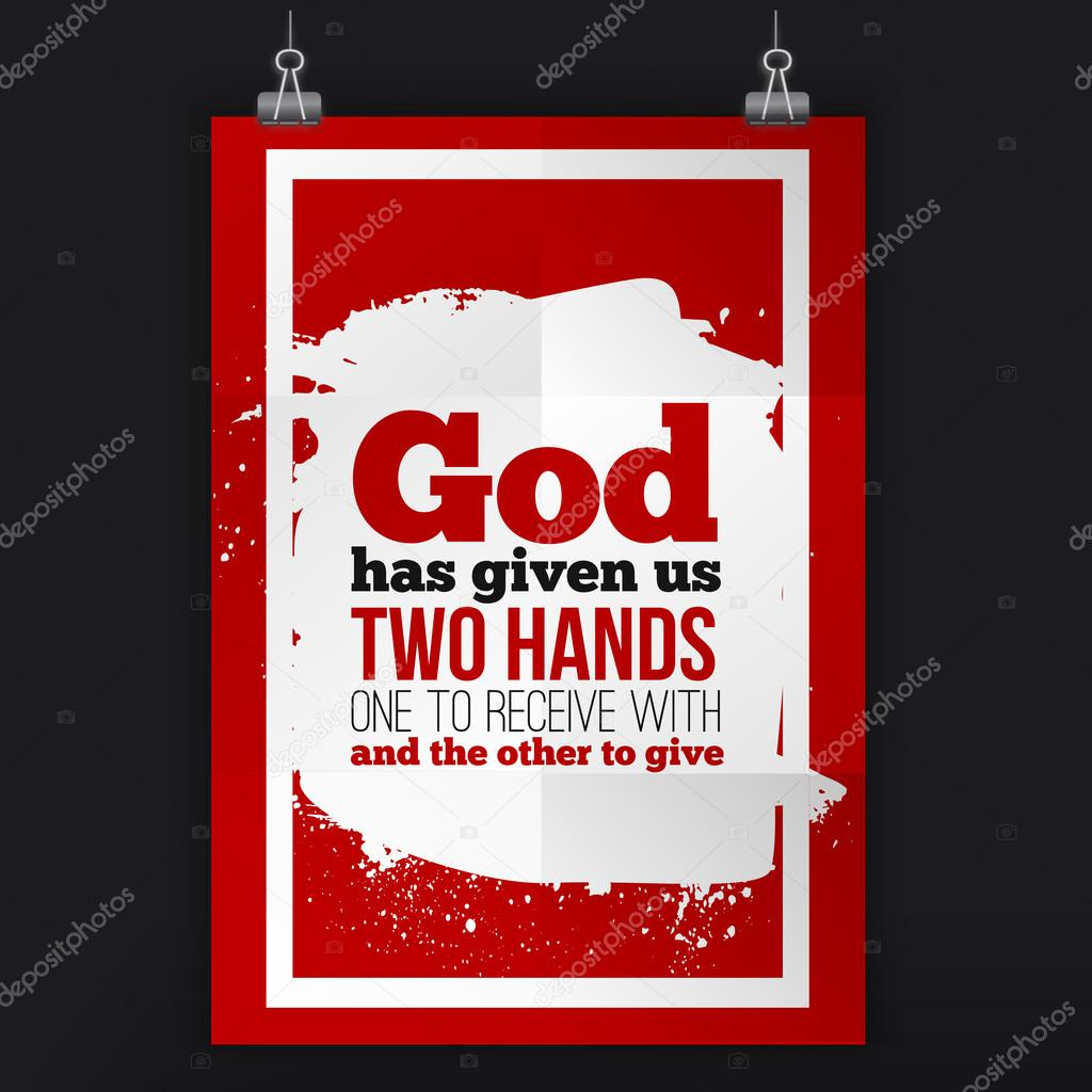 Poster design quotation - God Has Given Us Two Hands Vector Simple Design Motivating Positive Quotation Poster For Wall A4 Size Easy To Edit Vector By Alena_st