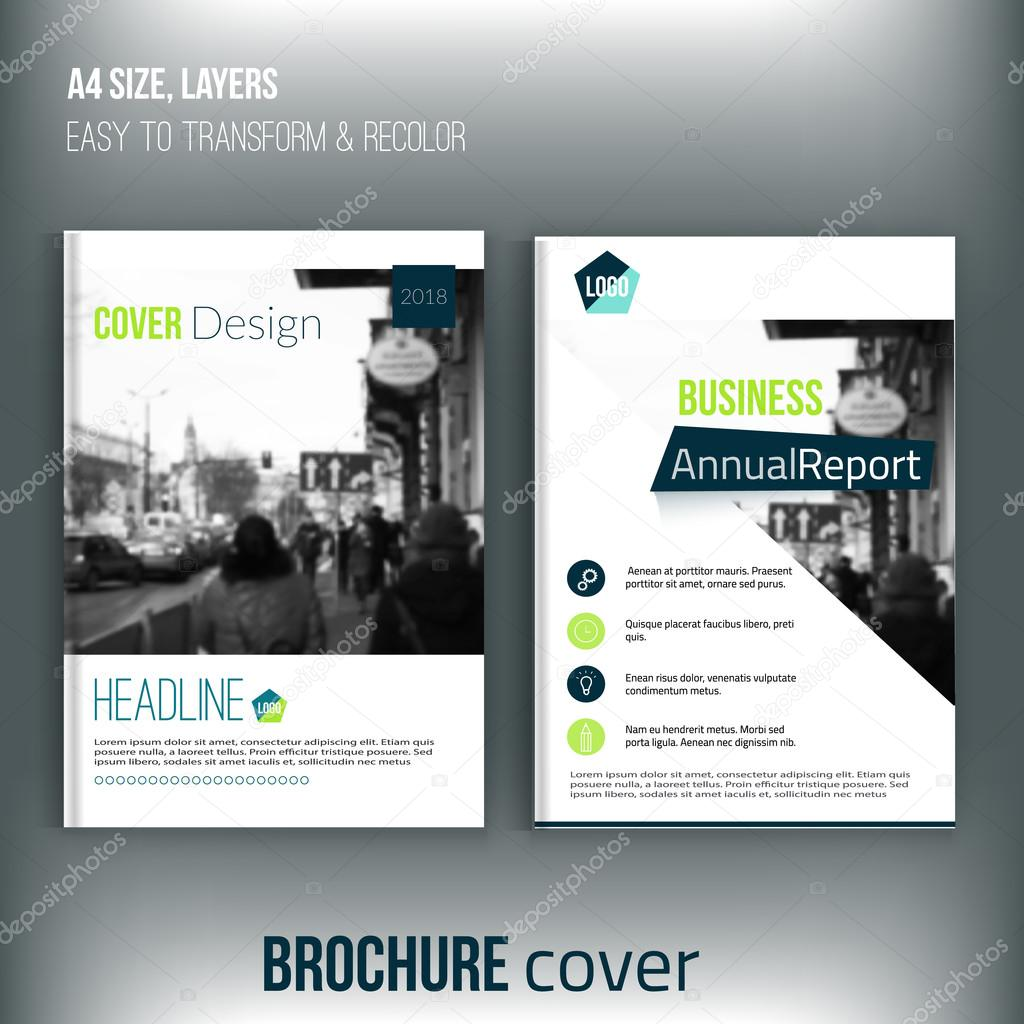 Set of Clean brochure cover templates with blured city landscape ...