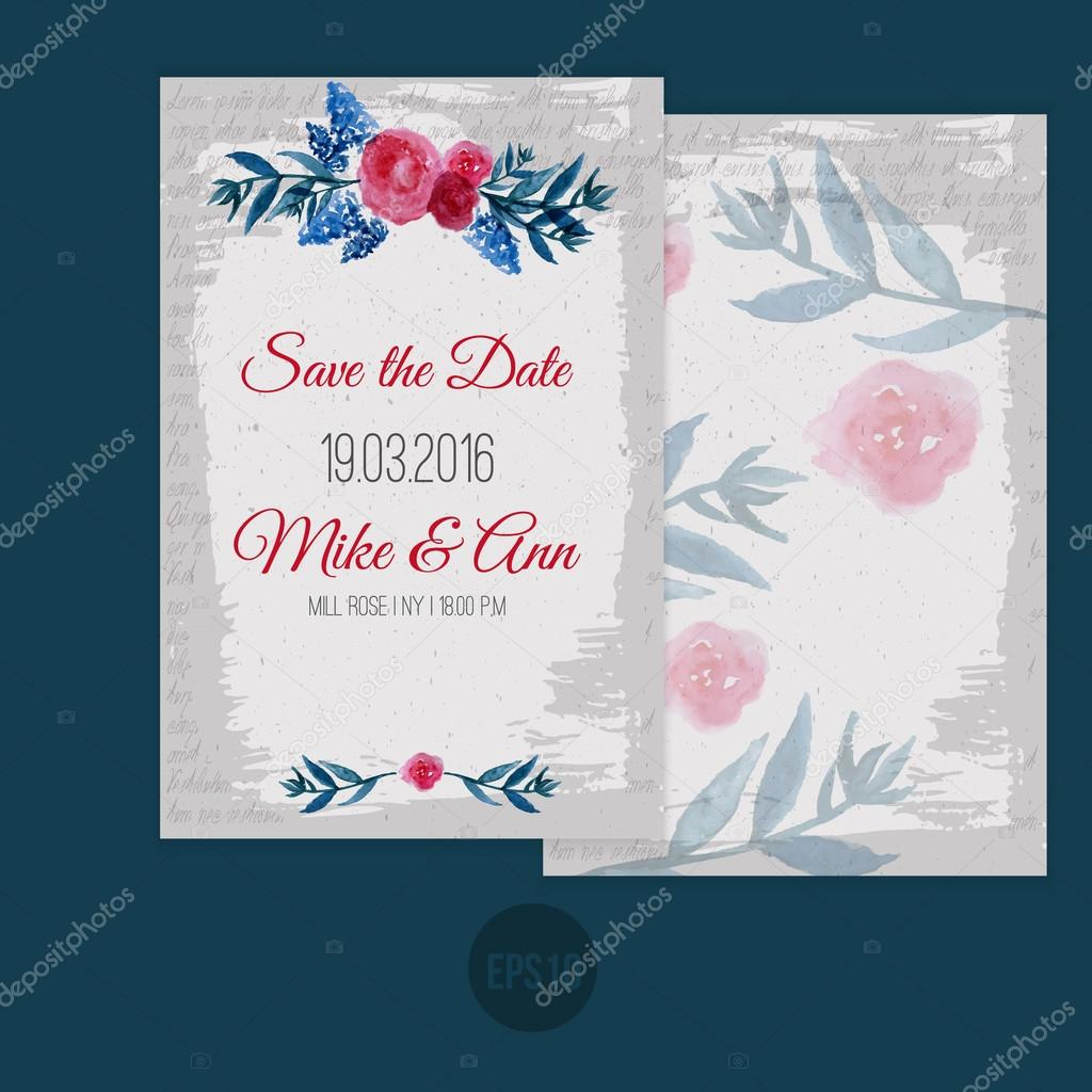 Vector watercolor template save the date with floral frame leaves vector watercolor template save the date with floral frame leaves artistic vector design for banners greeting cardssales posters vector by alenast kristyandbryce Images