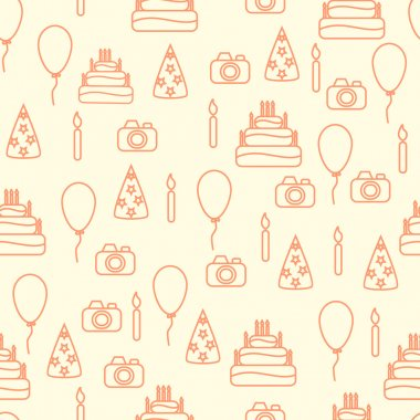 Vector line art style happy birthday seamless pattern. Artistic vector design for banners, greeting cards,sales, posters.