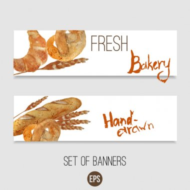 Vector watercolor hand drawn bakery set of banners with croissant, loaf, wheat, baguette, pretzel. EPS10