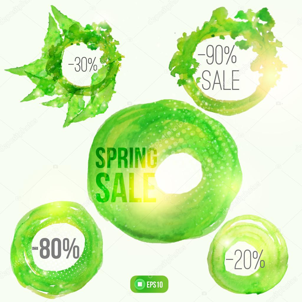 Vector watercolor spring splash set of  circle banners with shiny particles. Artistic vector design for impressive banners, greeting cards, spring sales.