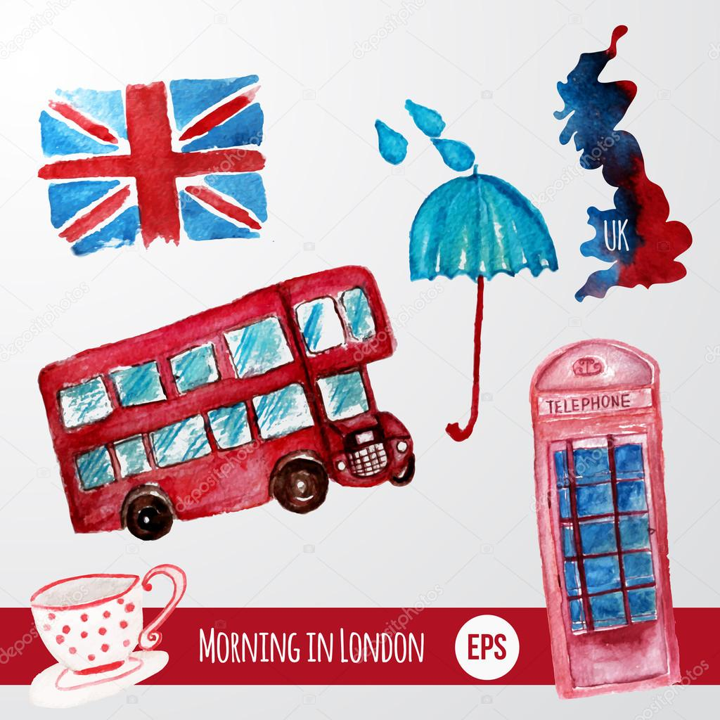 Vector watercolor set of London items with bus, flag, map and cup. EPS10