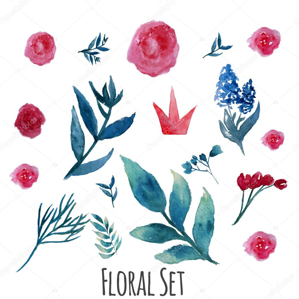 Vector watercolor floral set with vintage leaves and flowers. Artistic vector design for banners, greeting cards,sales, posters.