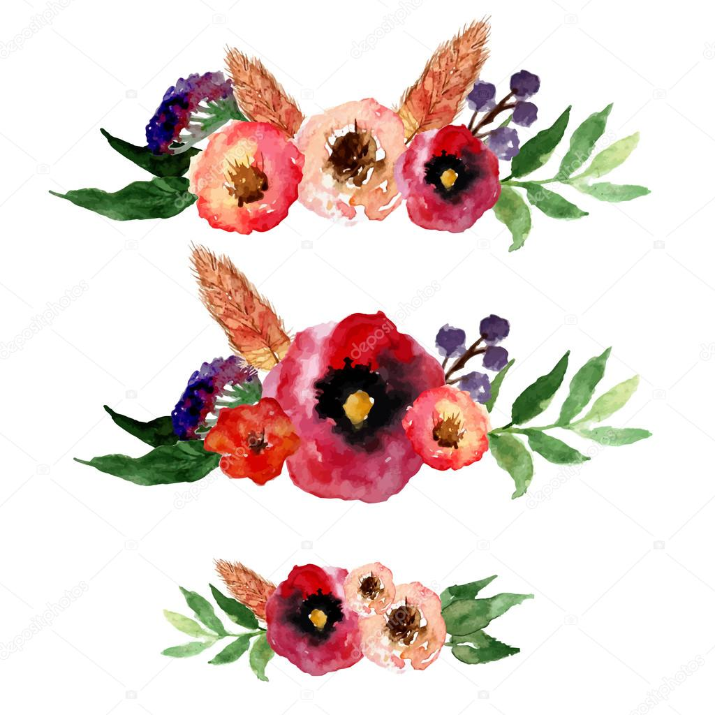 Vector watercolor floral wreath set with vintage leaves and flowers. Artistic vector design for banners, greeting cards,sales, posters.