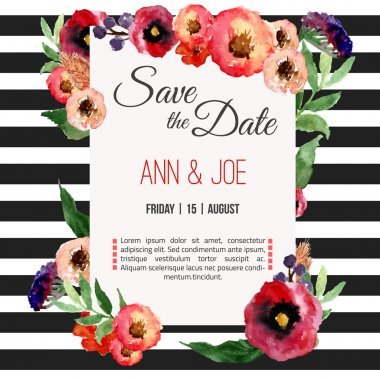 Vector watercolor template save the date with floral frame, leaves. Artistic vector design for banners, greeting cards,sales, posters.