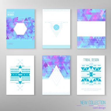 Vector set of modern tribal design cards with triangle background. Creative design for card, web design background, book cover.EPS10