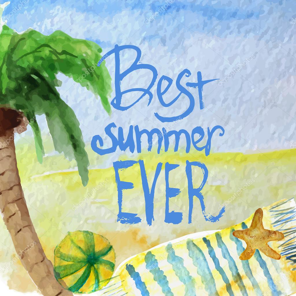 Vector watercolor summer poster with lettering on beach background. EPS10