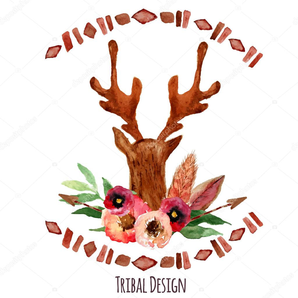 Vector watercolor deer head with flowers, leaves and arrows in tribal style. Creative design for card, web design background, book cover.EPS10
