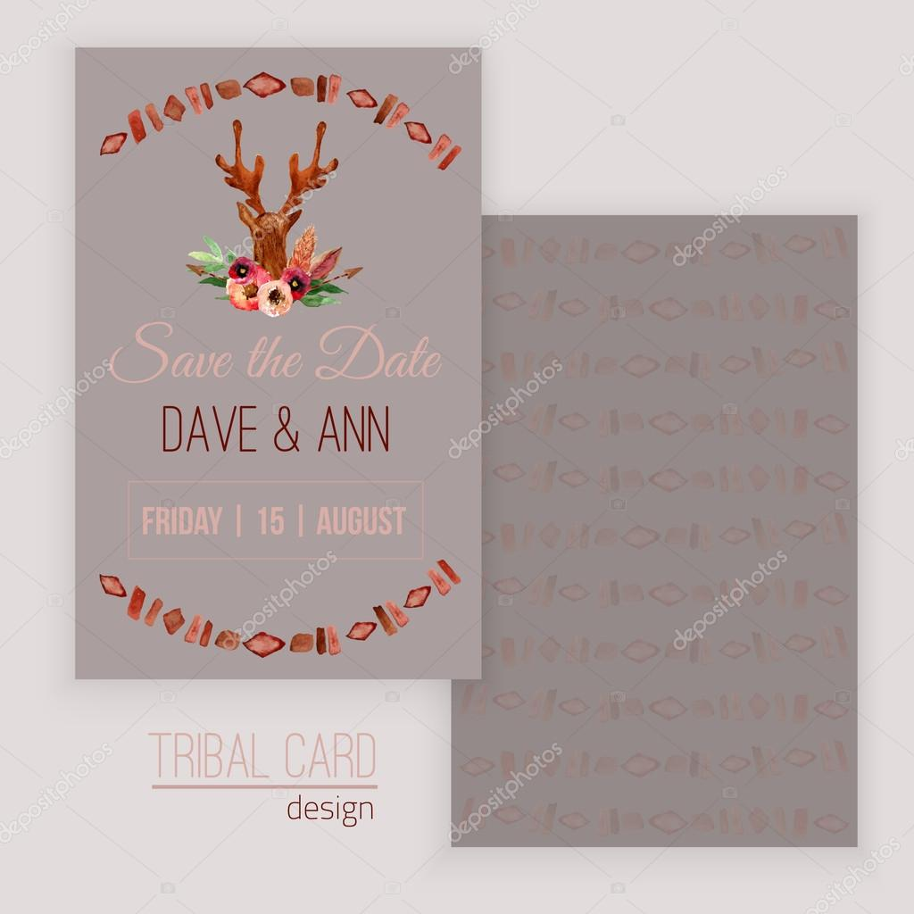 Vector watercolor save the date card with deer head, flowers, leaves and arrows in tribal style. Creative design for card, web design background, book cover.EPS10