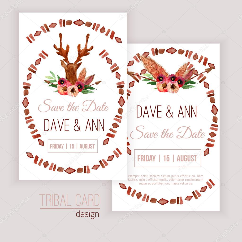 Vector watercolor save the date cards with deer head, flowers, leaves and arrows in tribal styleon white background. Creative design for card, web design background, book cover.EPS10