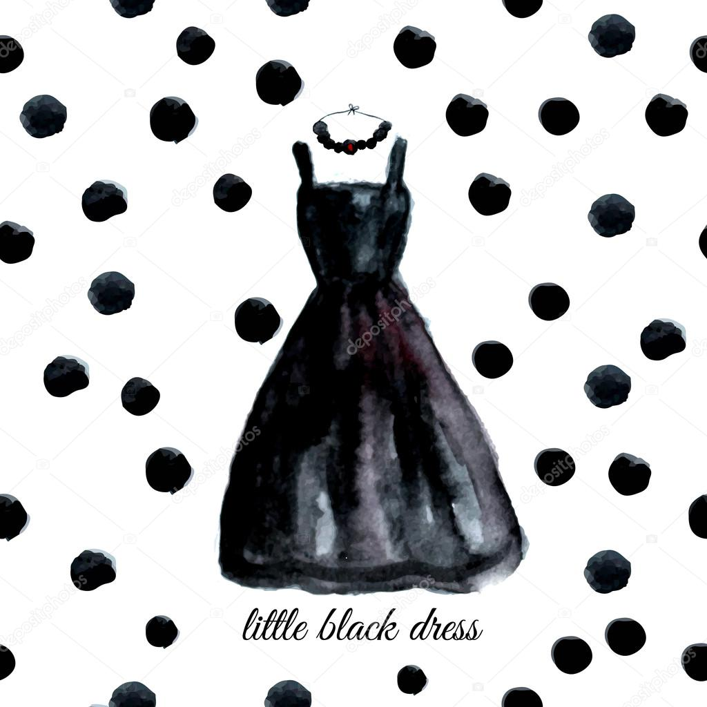 Vector watercolor black dress on polka dot background.