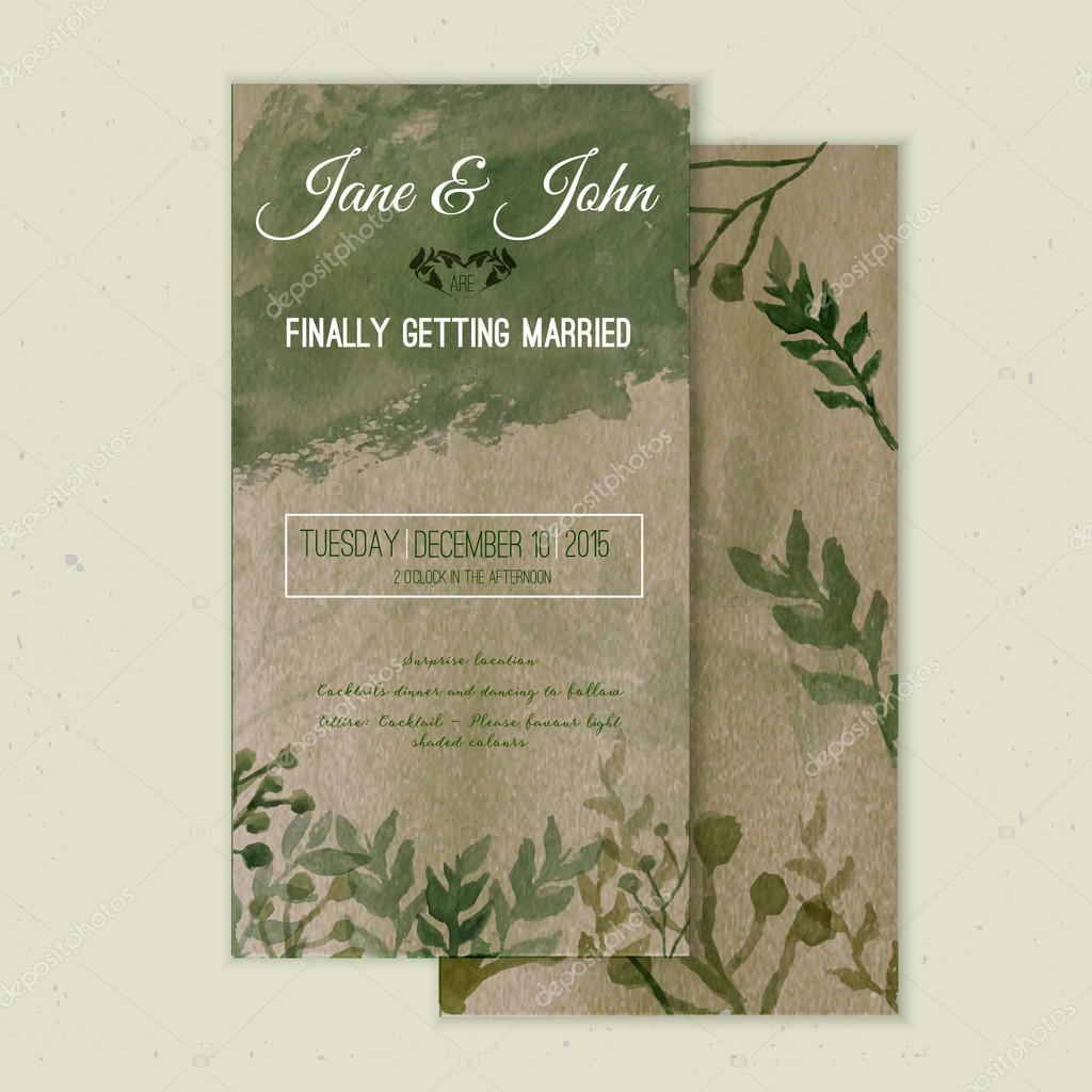Vector watercolor save the date card in rustic style with green leaves on craft paper.