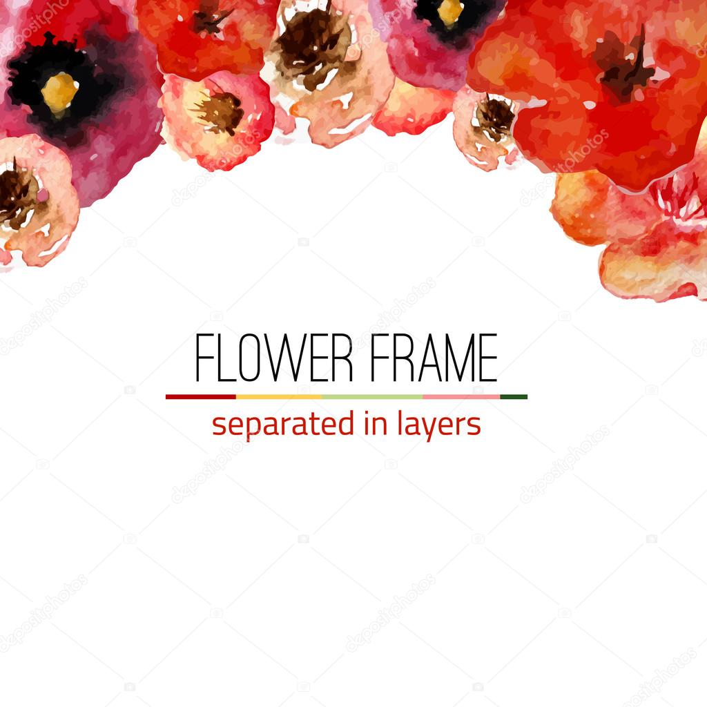 Vector watercolor floral frame with vintage leaves and flowers. Artistic vector design for banners, greeting cards,sales, posters.