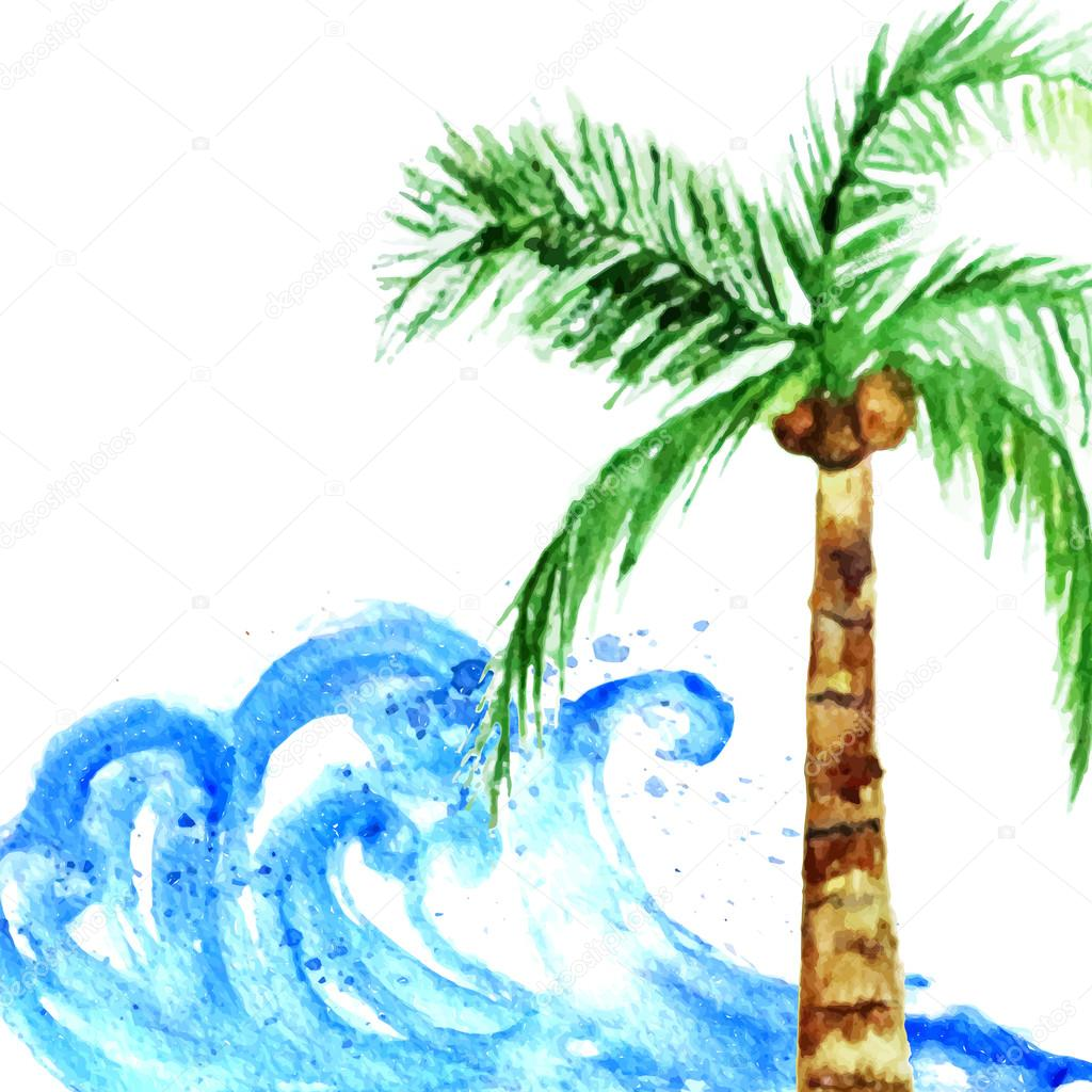 Vector watercolor summer poster with  wave and palm tree.