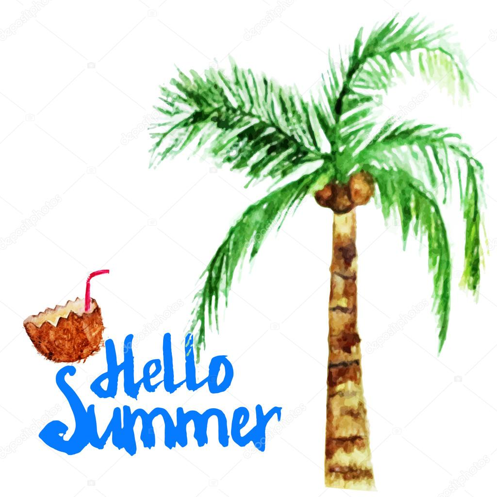 Vector watercolor summer poster with coconut and palm tree.