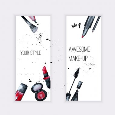 Vector watercolor Glamorous make up set of  banners with nail polish and lipstick.Creative design for card, web design background, book cover.EPS10