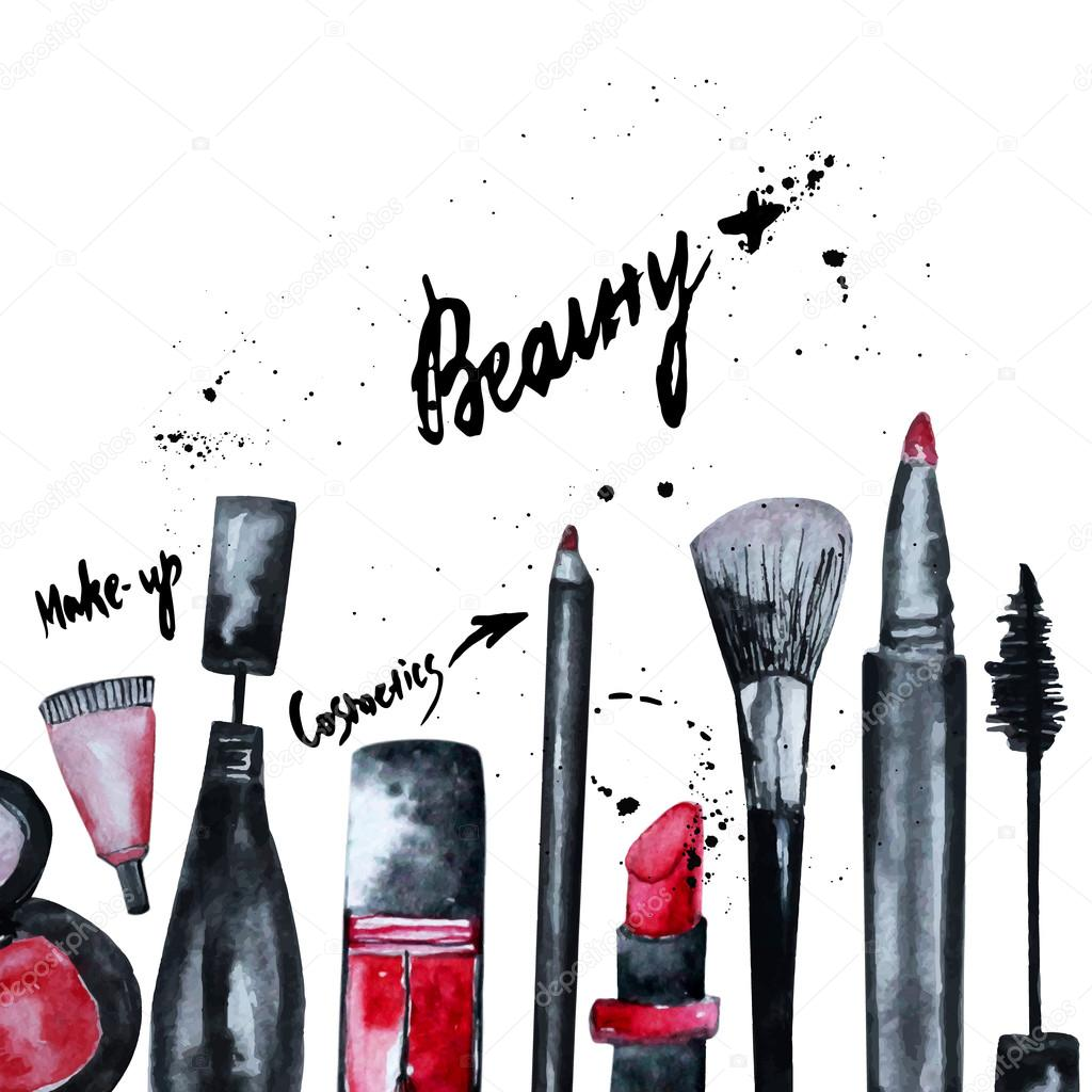 Book Cover Watercolor Brushes : Vector watercolor glamorous make up set of cosmetics with