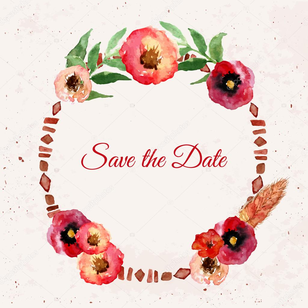 Vector watercolor save the date floral wreath with vintage leaves and flowers. Artistic vector design for banners, greeting cards,sales, posters.