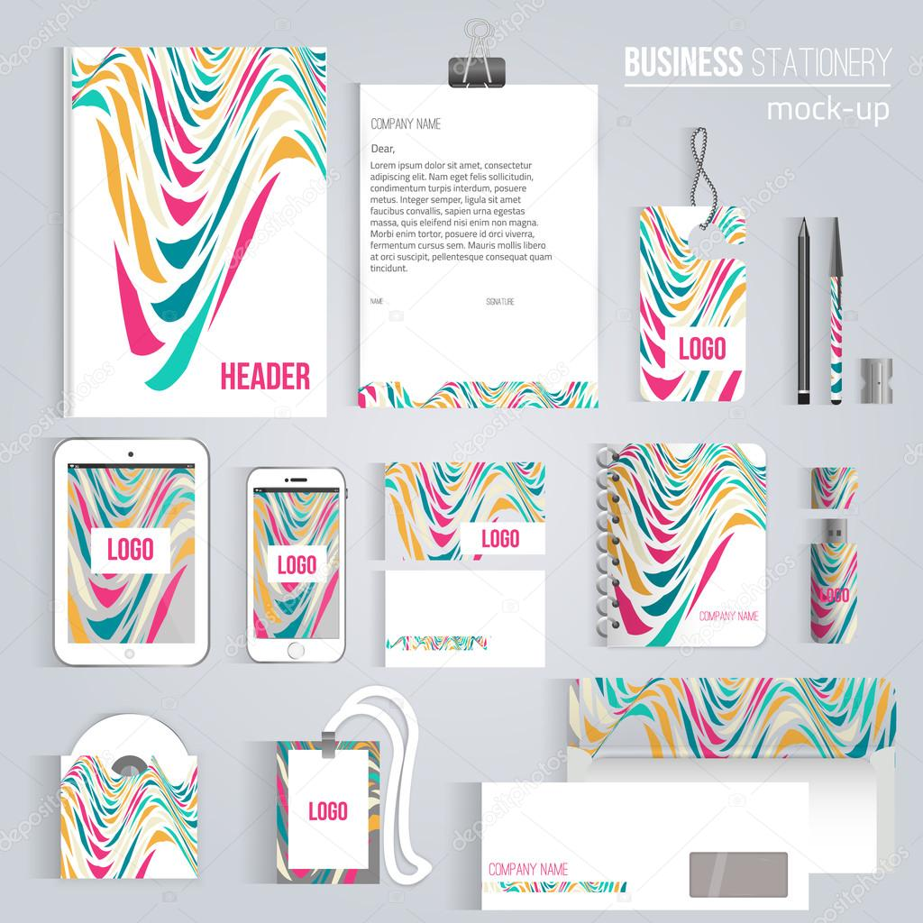 Vector creative colorful wave corporate identity set of stationery consist of letterhead book pen pencil note phone business cards cd envelope eps10 vector by alenast reheart Images