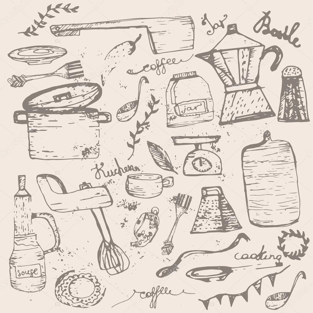 Vector Set Of Vintage Doodle Kitchen And Cooking Supplies