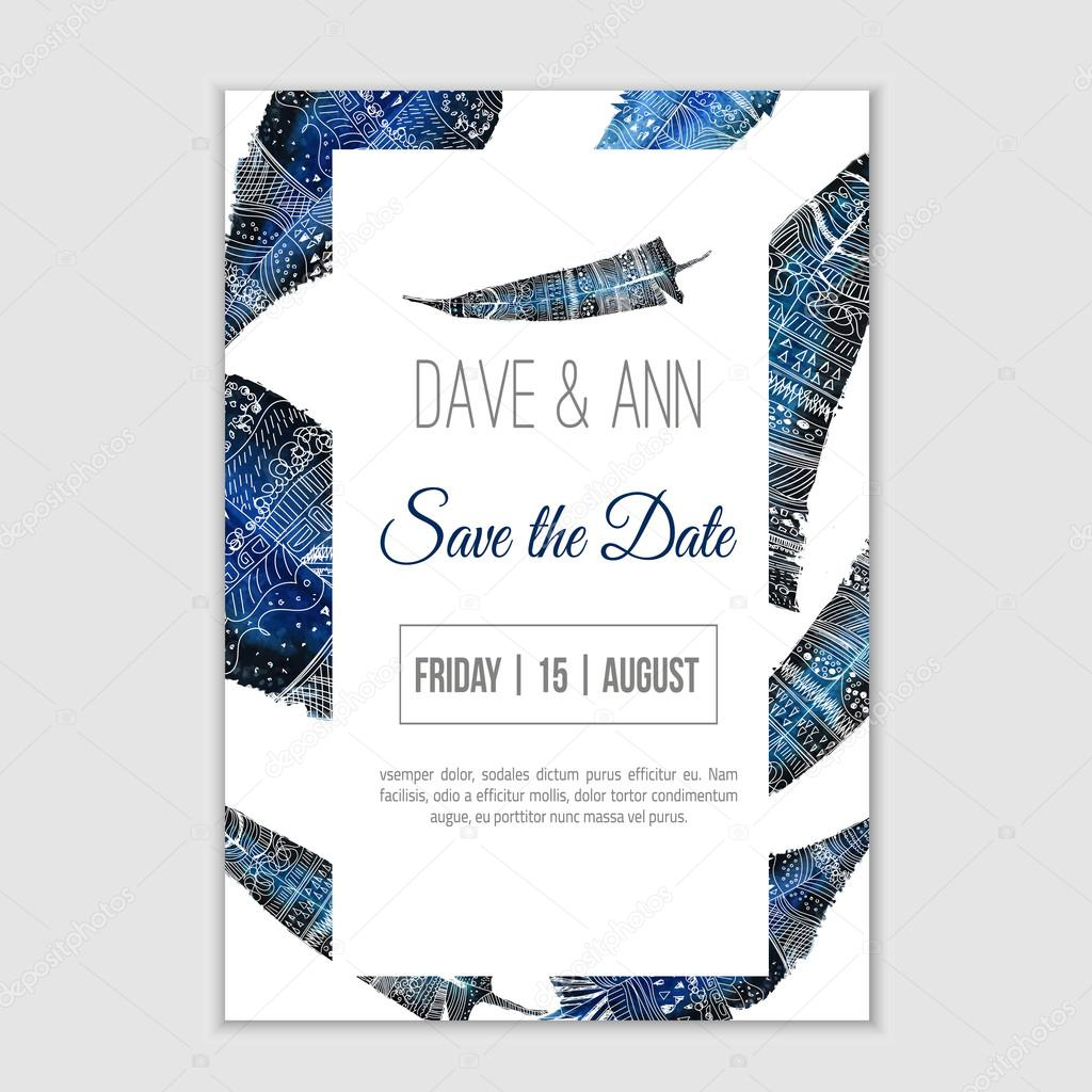 Vector stylish template save the date with feathers on watercolor background. Artistic vector design for banners, greeting cards,sales, posters.