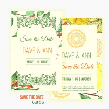 Vector watercolor lemon save the date card with leaves and oriental shapes.  Artistic vector design for banners, greeting cards,sales, posters.