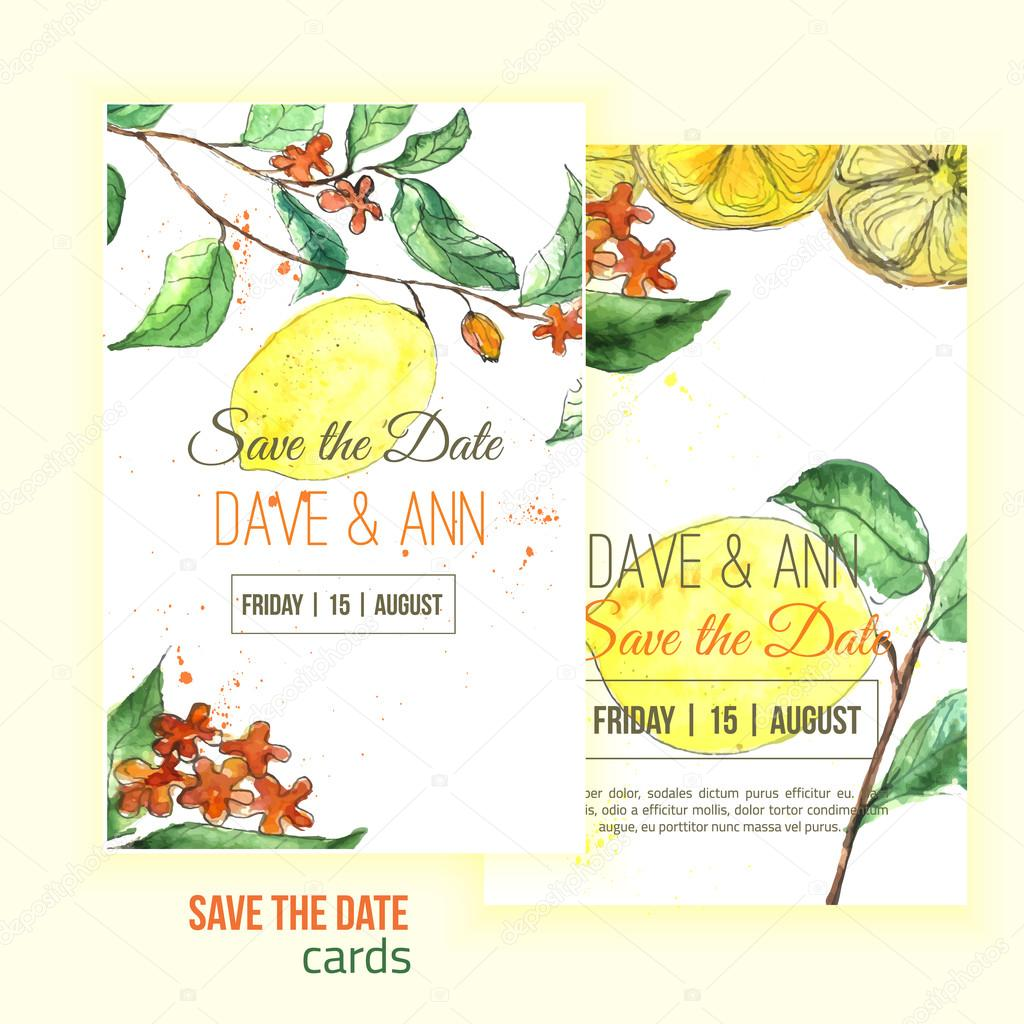 Vector watercolor lemon save the date card with leaves.  Artistic vector design for banners, greeting cards,sales, posters.